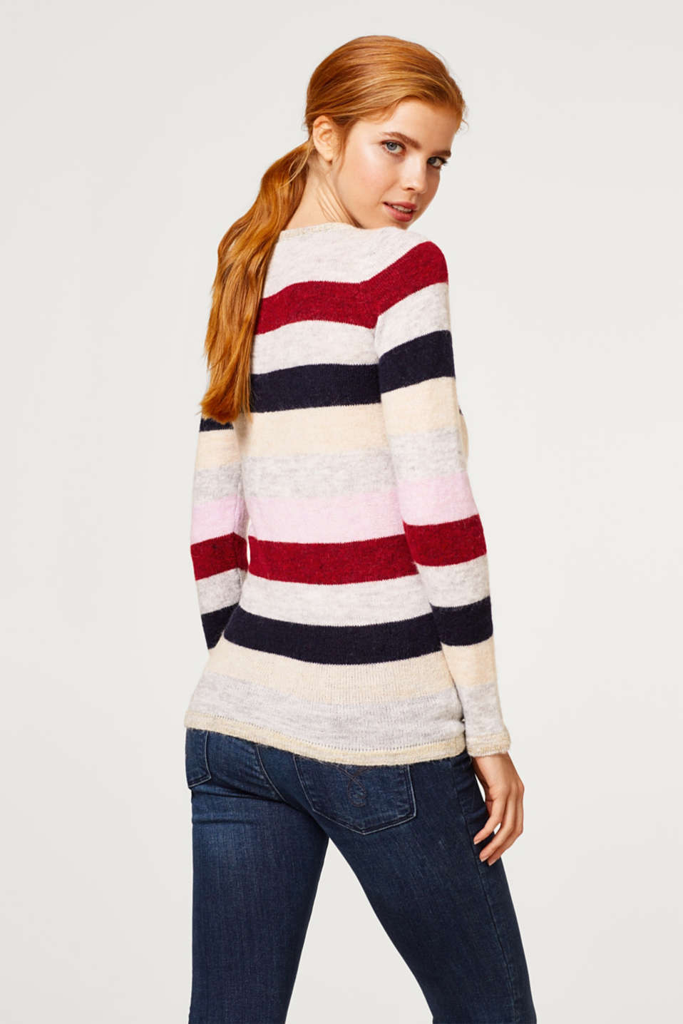 Lightweight block stripe jumper with glitter, LCRED SALMON, detail image number 3