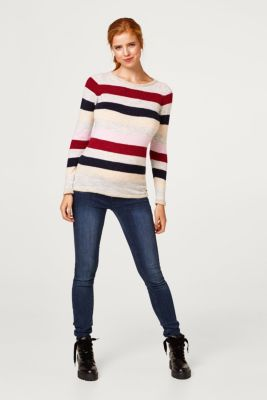 Lightweight block stripe jumper with glitter, LCRED SALMON, detail