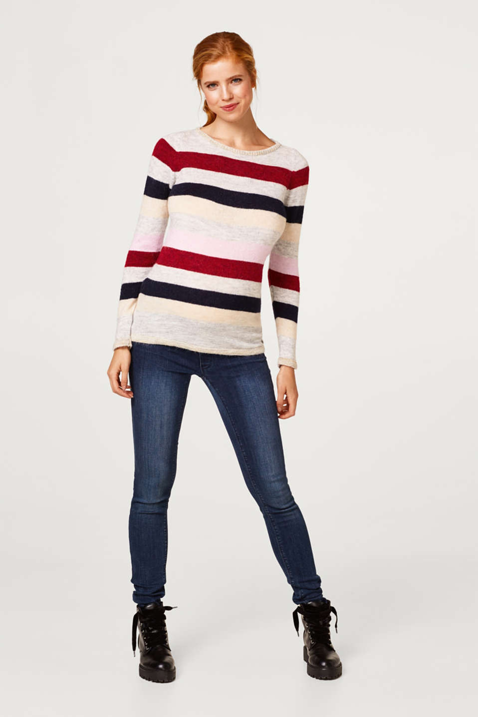 Lightweight block stripe jumper with glitter, LCRED SALMON, detail image number 1