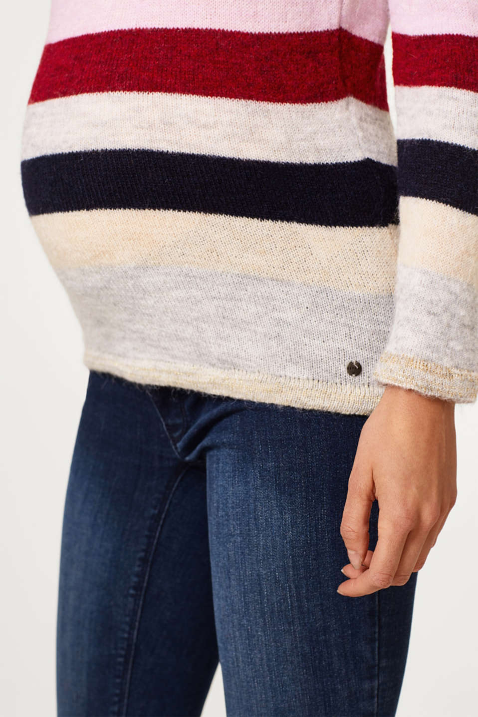Lightweight block stripe jumper with glitter, LCRED SALMON, detail image number 2