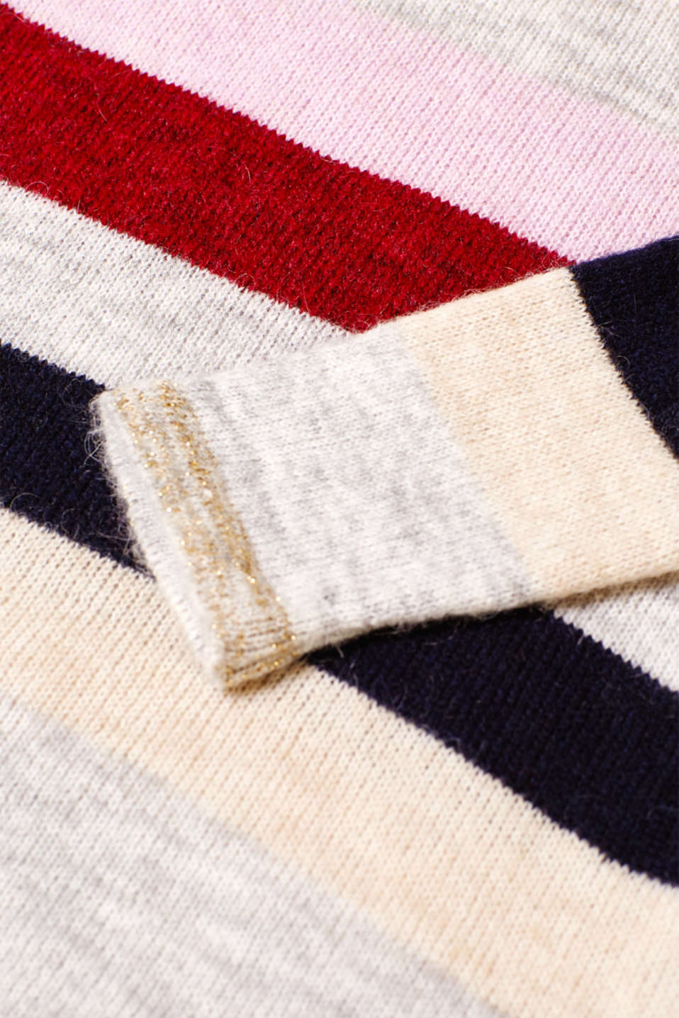 Lightweight block stripe jumper with glitter, LCRED SALMON, detail image number 4