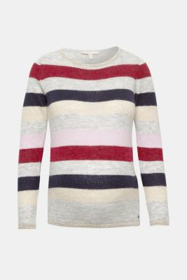 Lightweight block stripe jumper with glitter, LCRED SALMON, detail