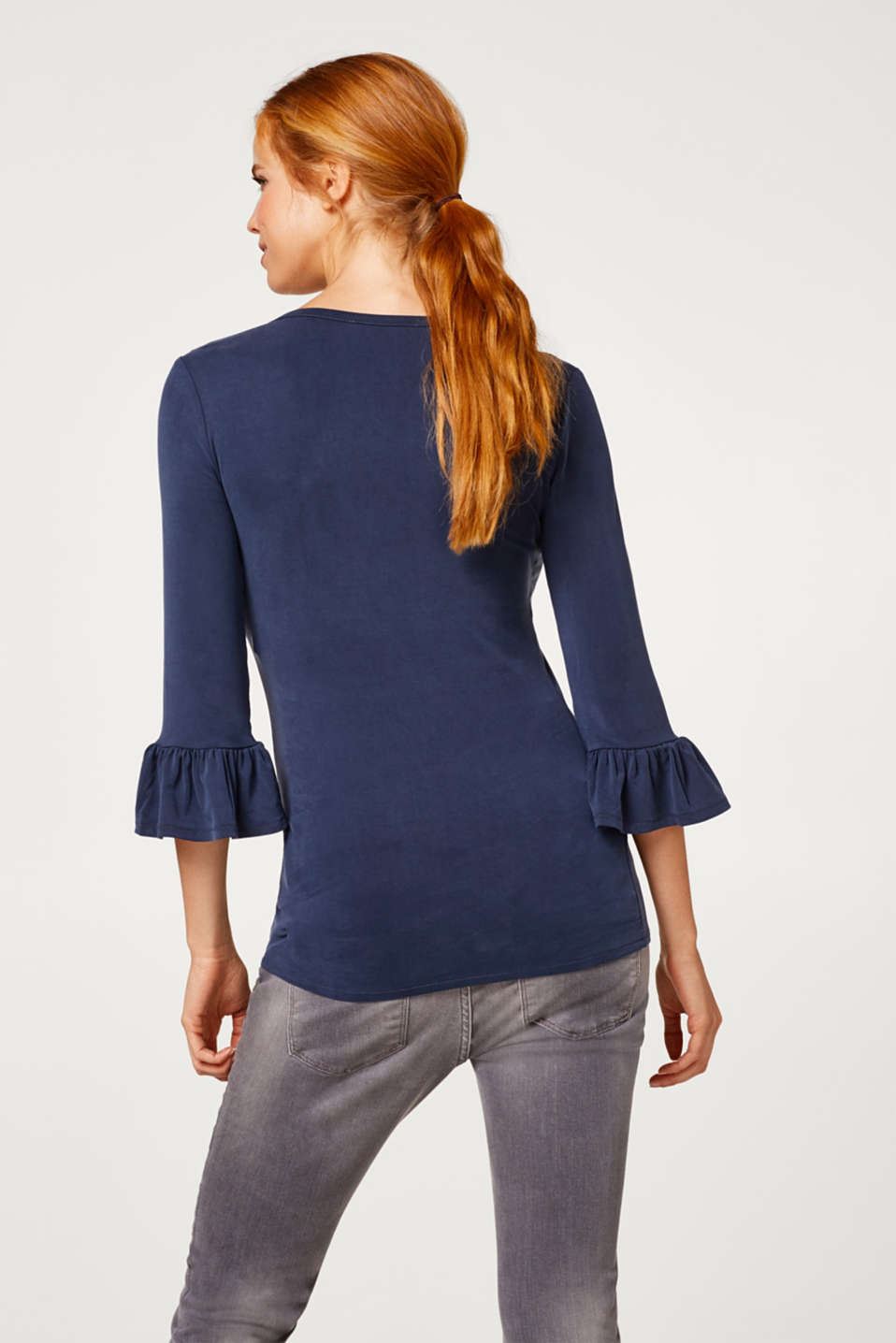 Stretch top with flounce sleeves, LCNIGHT BLUE, detail image number 3