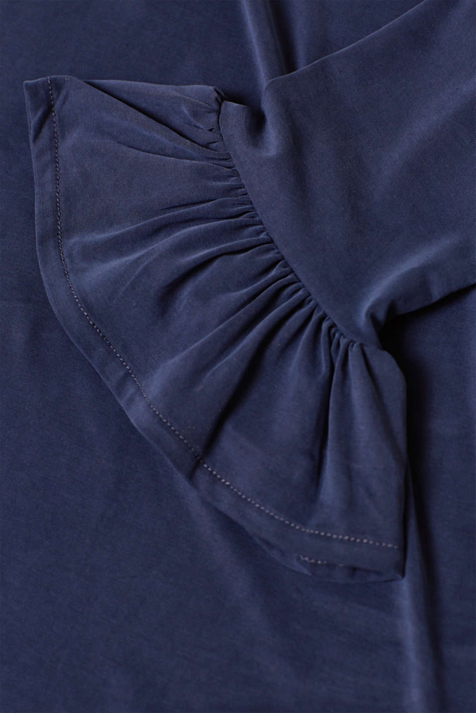 Stretch top with flounce sleeves, LCNIGHT BLUE, detail image number 4