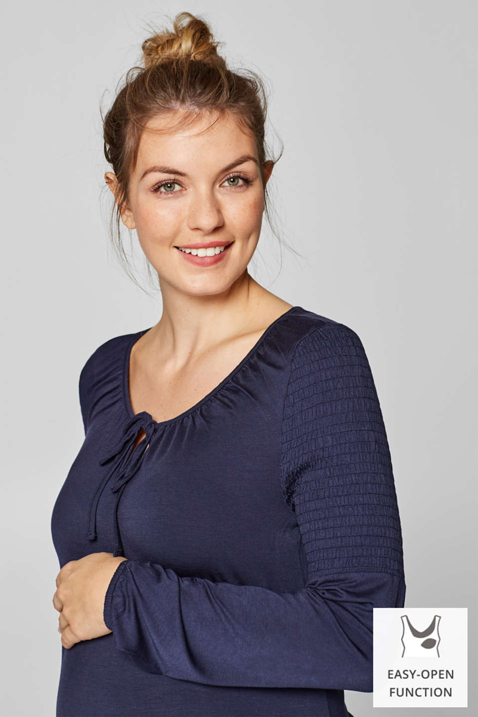 Esprit - Nursing long sleeve top with smocked details