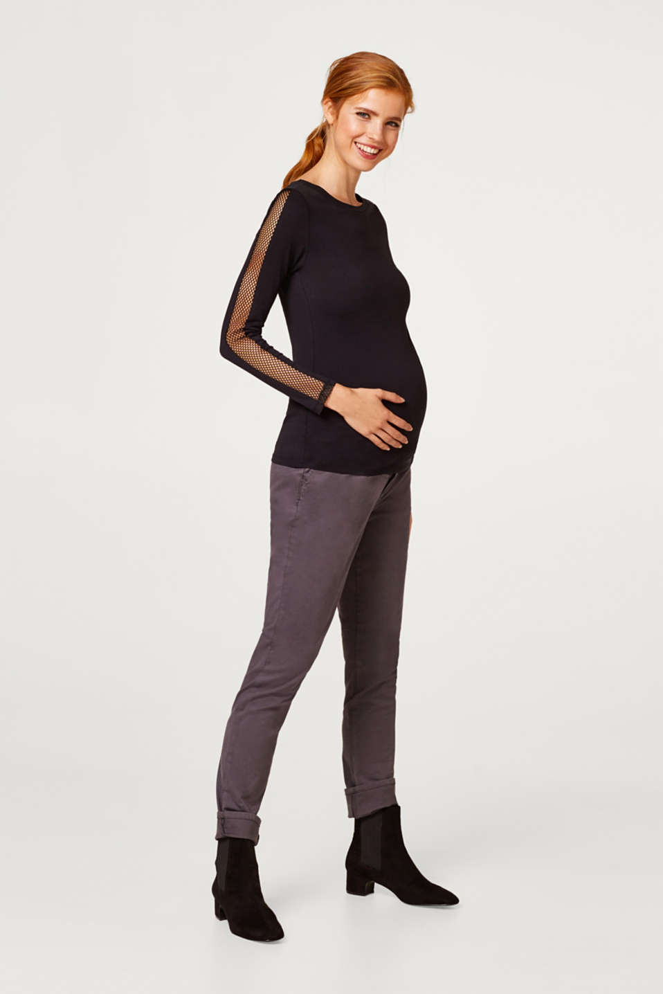 Esprit - Basic stretch trousers, over-bump waistband