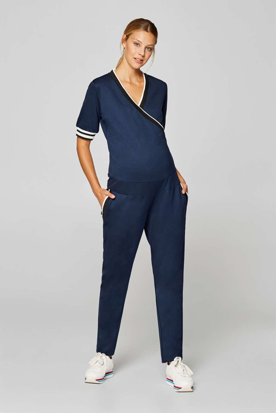 Esprit - Stretch jersey jumpsuit with an under-bump waistband