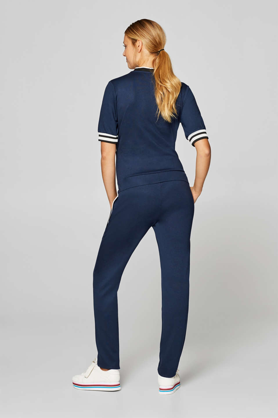 Stretch jersey jumpsuit with an under-bump waistband, LCNIGHT BLUE, detail image number 2