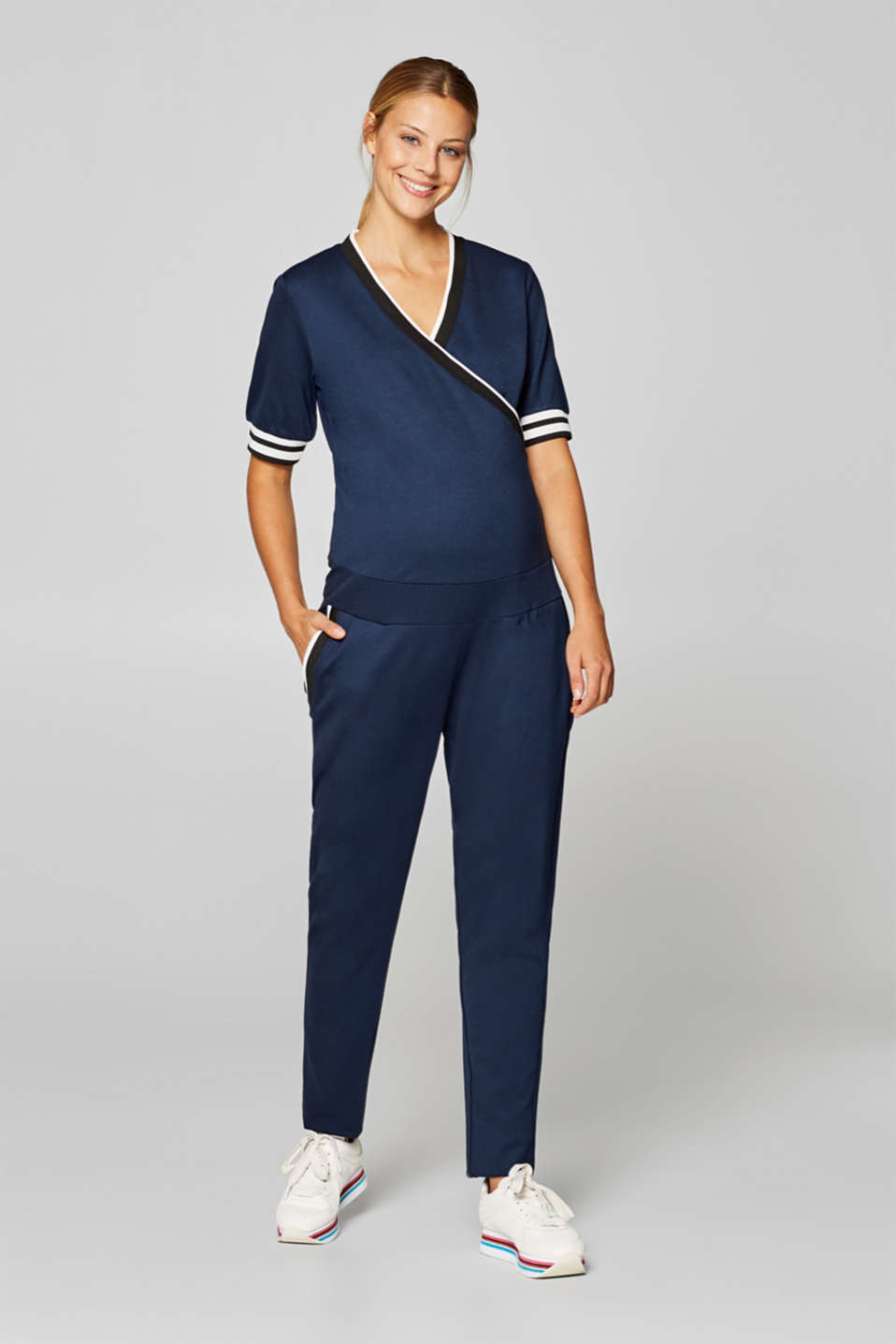 Stretch jersey jumpsuit with an under-bump waistband, LCNIGHT BLUE, detail image number 1
