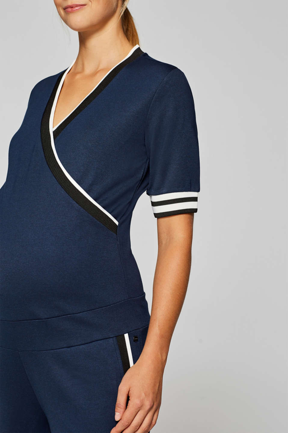Stretch jersey jumpsuit with an under-bump waistband, LCNIGHT BLUE, detail image number 3