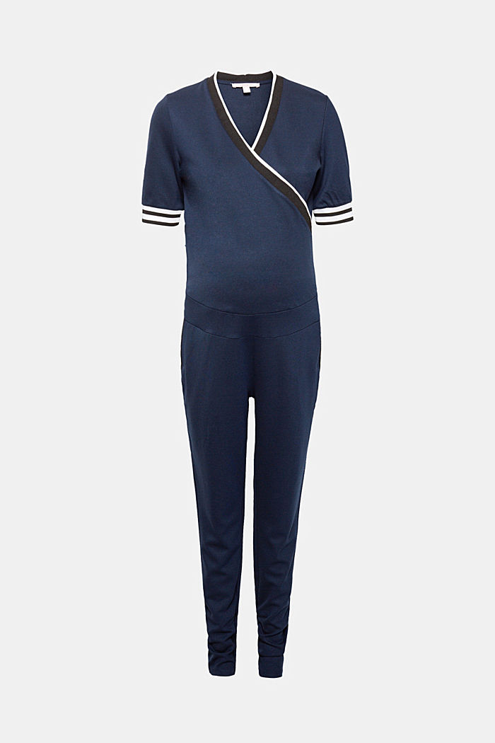 Stretch jersey jumpsuit with an under-bump waistband, LCNIGHT BLUE, detail image number 0
