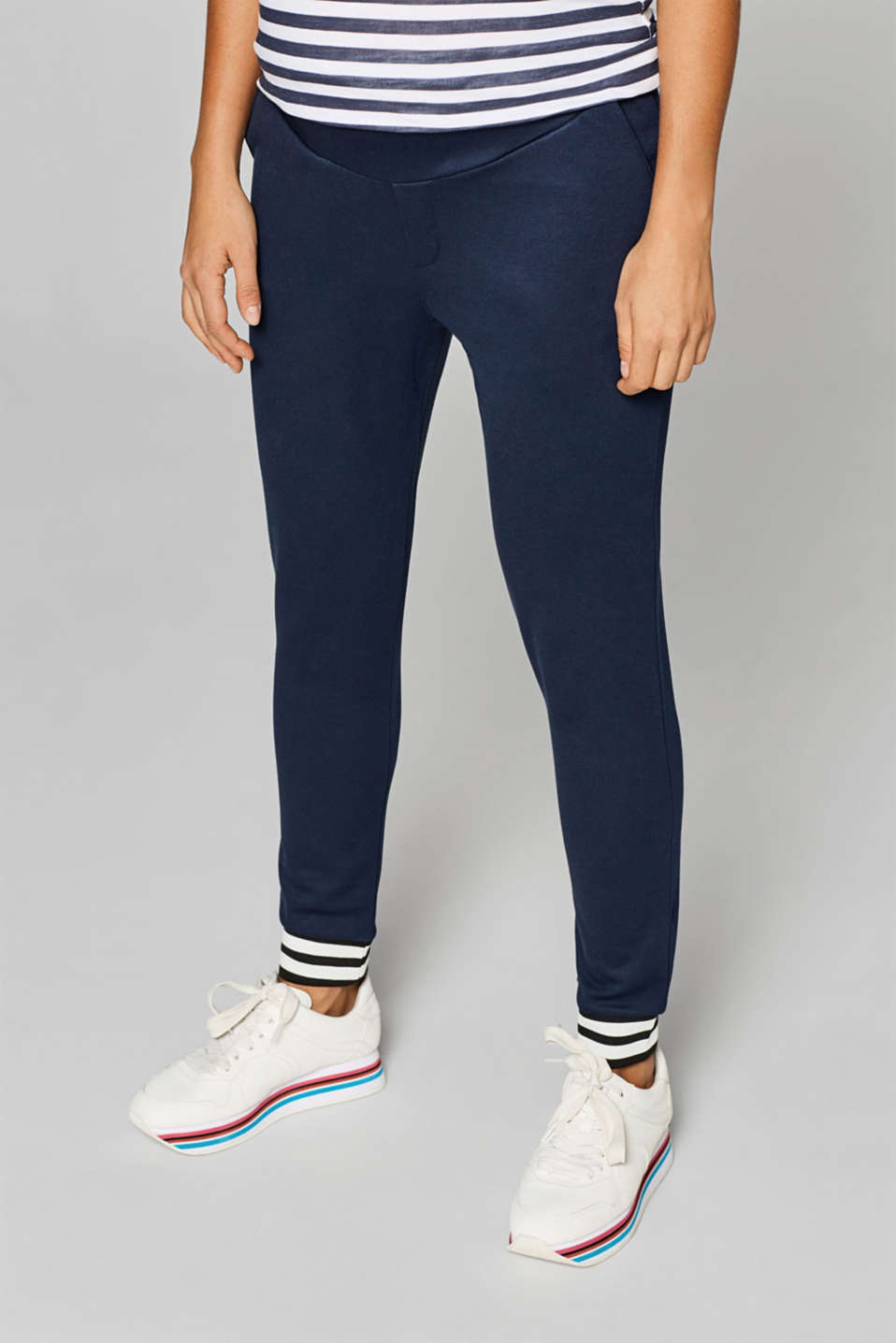 Esprit - Stretch jersey trousers with a striped hems