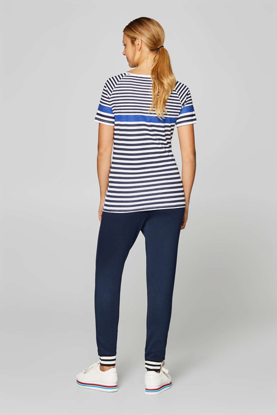 Stretch jersey trousers with a striped hems, LCNIGHT BLUE, detail image number 3