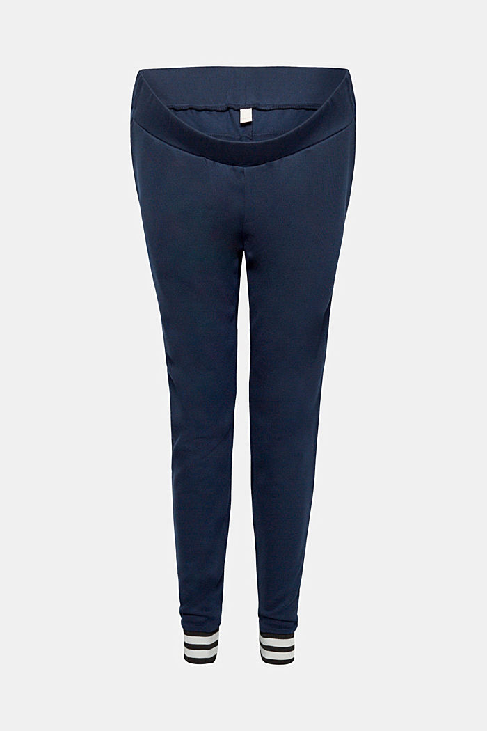 Stretch jersey trousers with a striped hems, LCNIGHT BLUE, detail image number 0