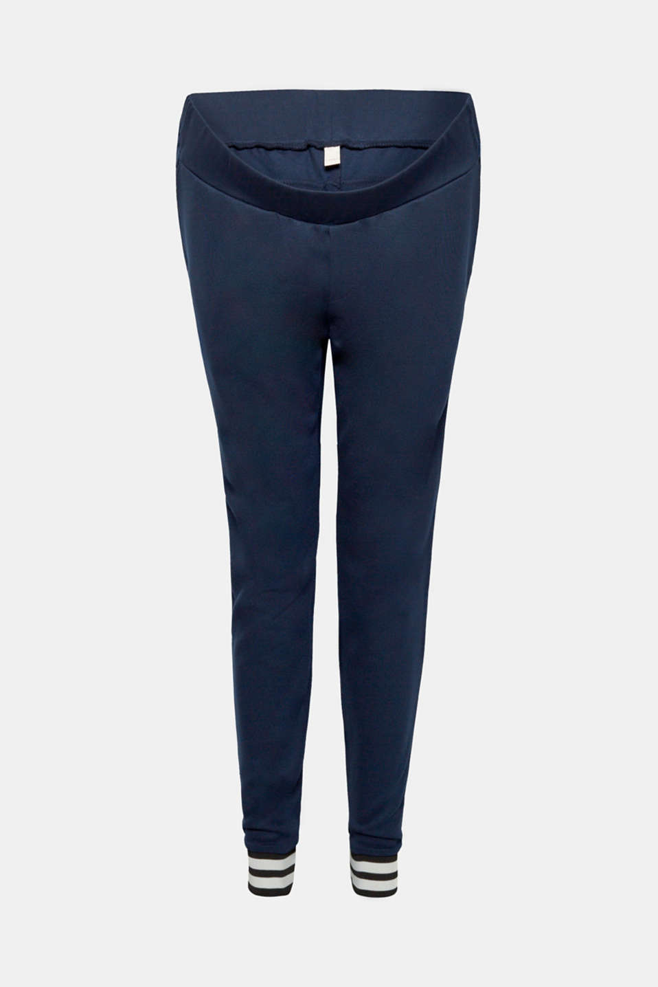Stretch jersey trousers with a striped hems, LCNIGHT BLUE, detail image number 6