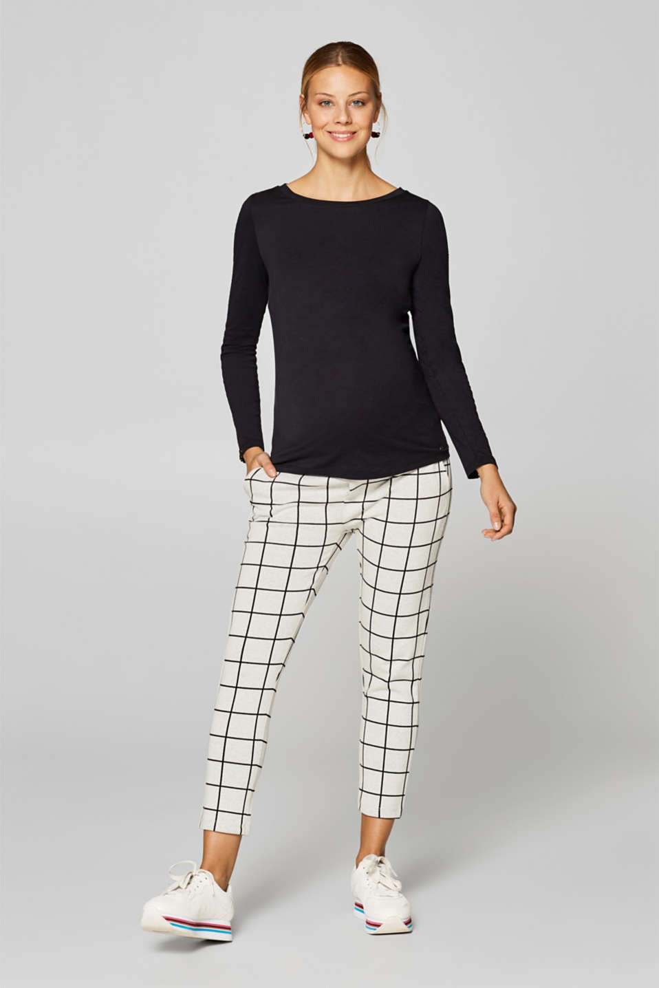 Esprit - Stretch jersey trousers with an under-bump waistband