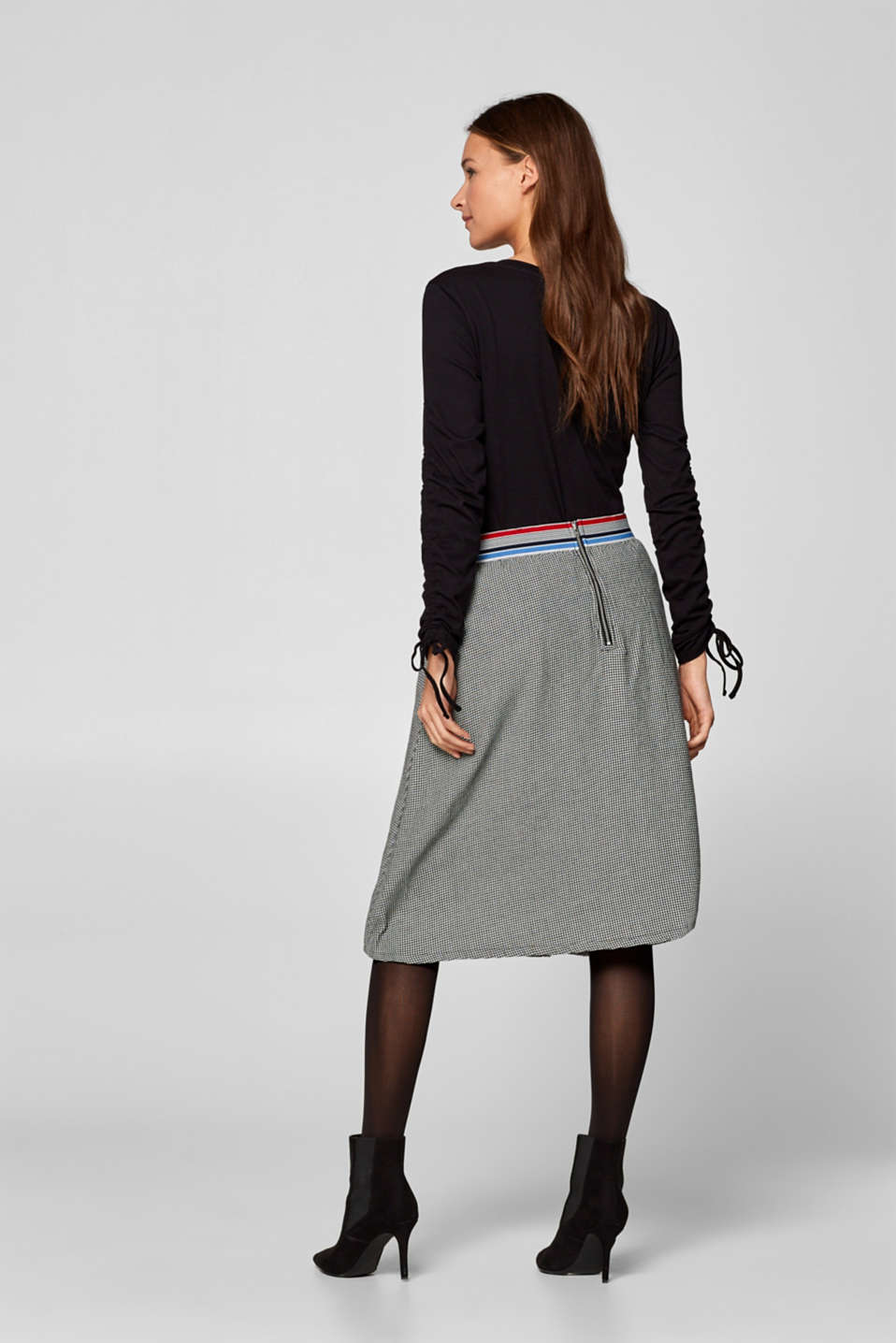 Esprit - Houndstooth skirt with elasticated waistband, 100% cotton