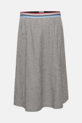 Houndstooth skirt with elasticated waistband, 100% cotton, LCBLACK, detail