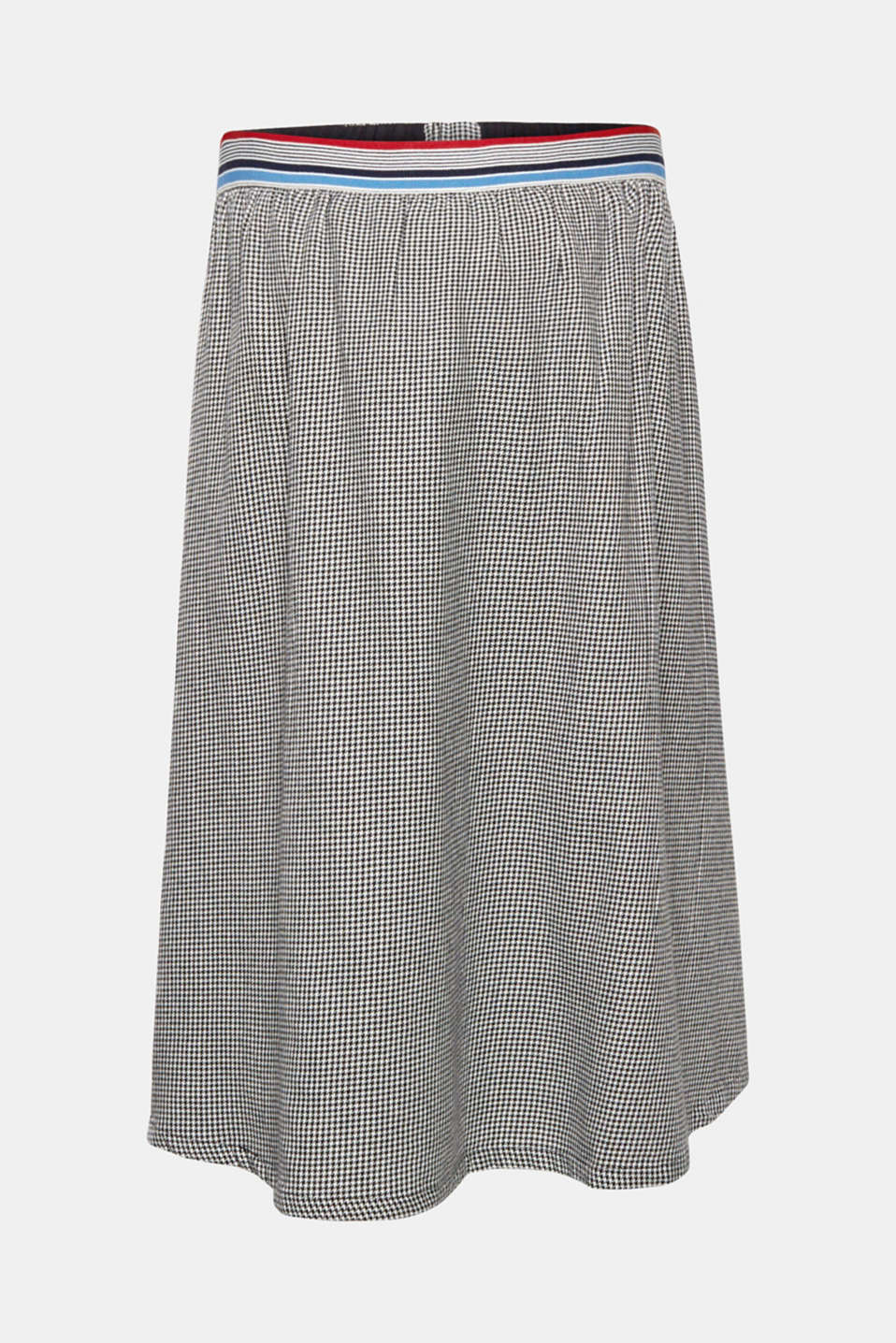 Houndstooth skirt with elasticated waistband, 100% cotton, LCBLACK, detail image number 0