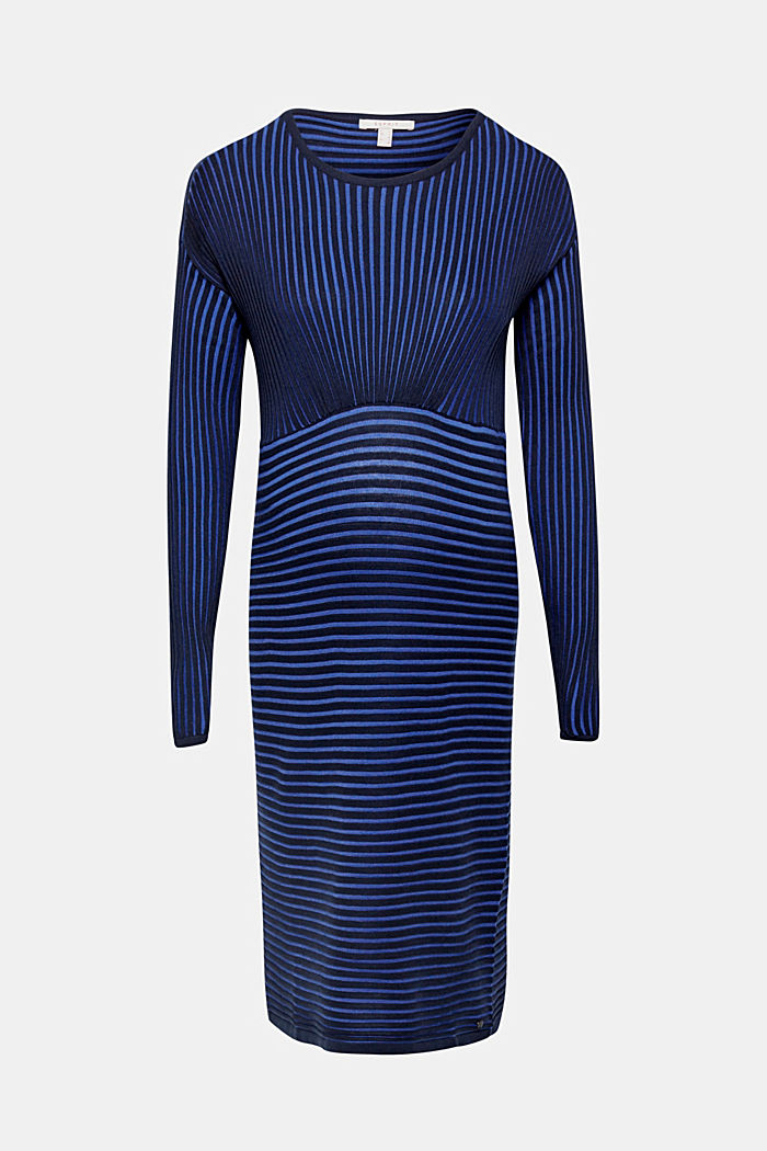Two-tone ribbed knit midi dress, NIGHT BLUE, detail image number 0