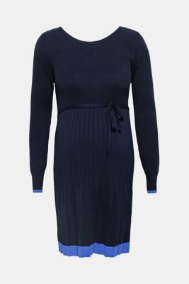 Knitted dress with pleated skirt, LCNIGHT BLUE, detail