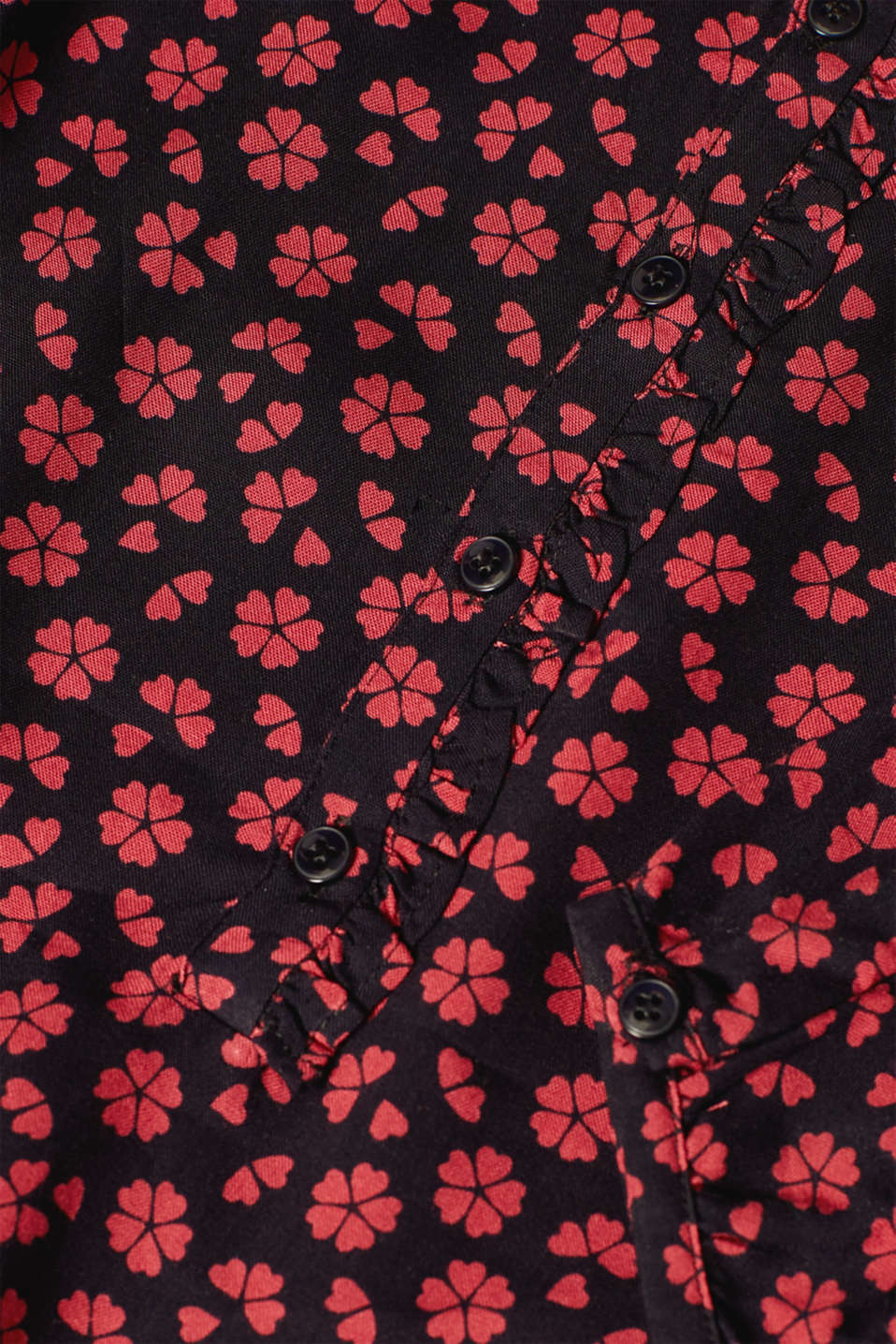Print blouse with frill and elastic, LCCHERRY BLUSH, detail image number 4