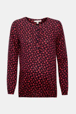 Print blouse with frill and elastic, LCCHERRY BLUSH, detail