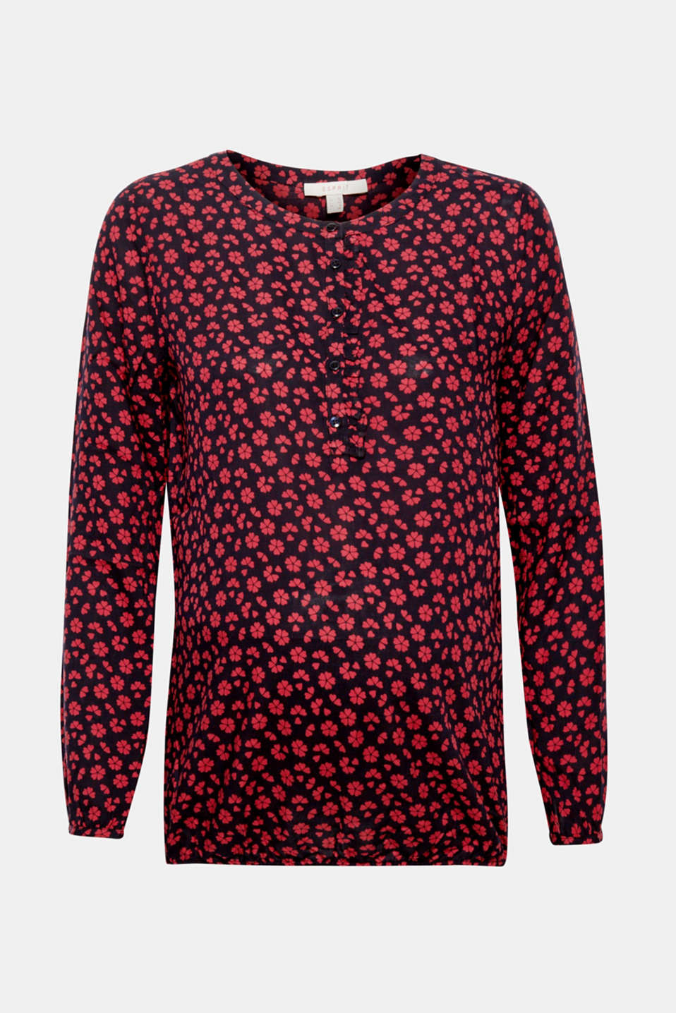 Esprit - Print blouse with frill and elastic