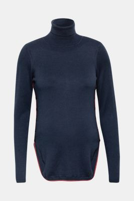 Long polo neck jumper with button plackets, LCNIGHT BLUE, detail