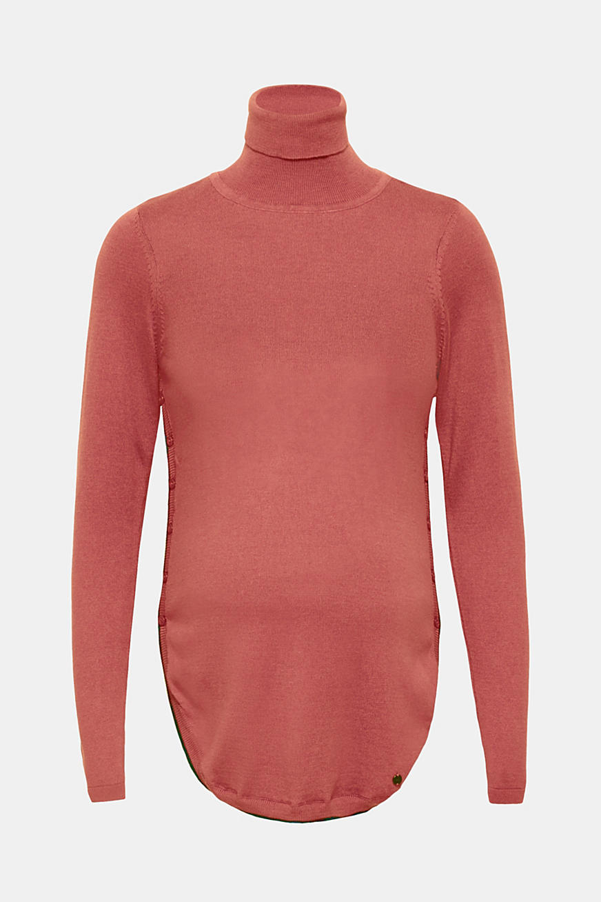 Long polo neck jumper with button plackets