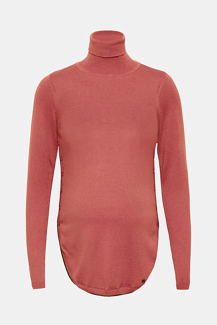 Long polo neck jumper with button plackets, CHERRY BLUSH, detail image number 0