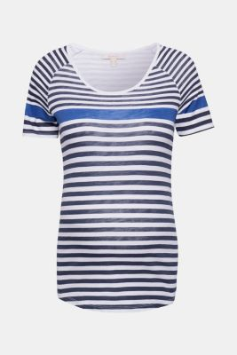 100% cotton tee with colour block stripes, LCNIGHT BLUE, detail