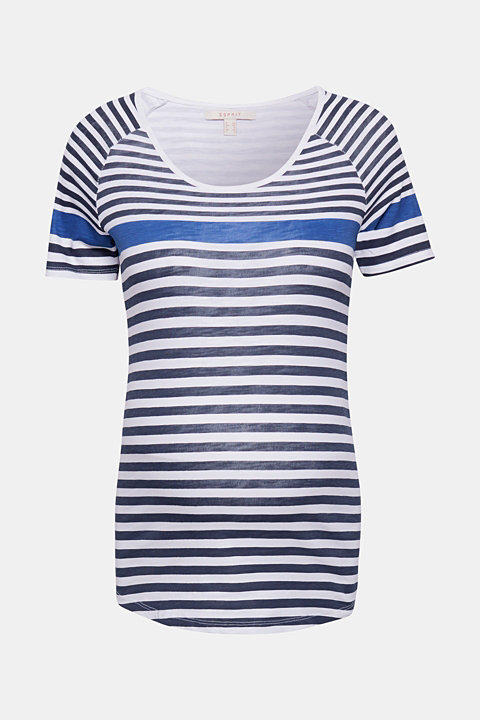 100% cotton tee with colour block stripes