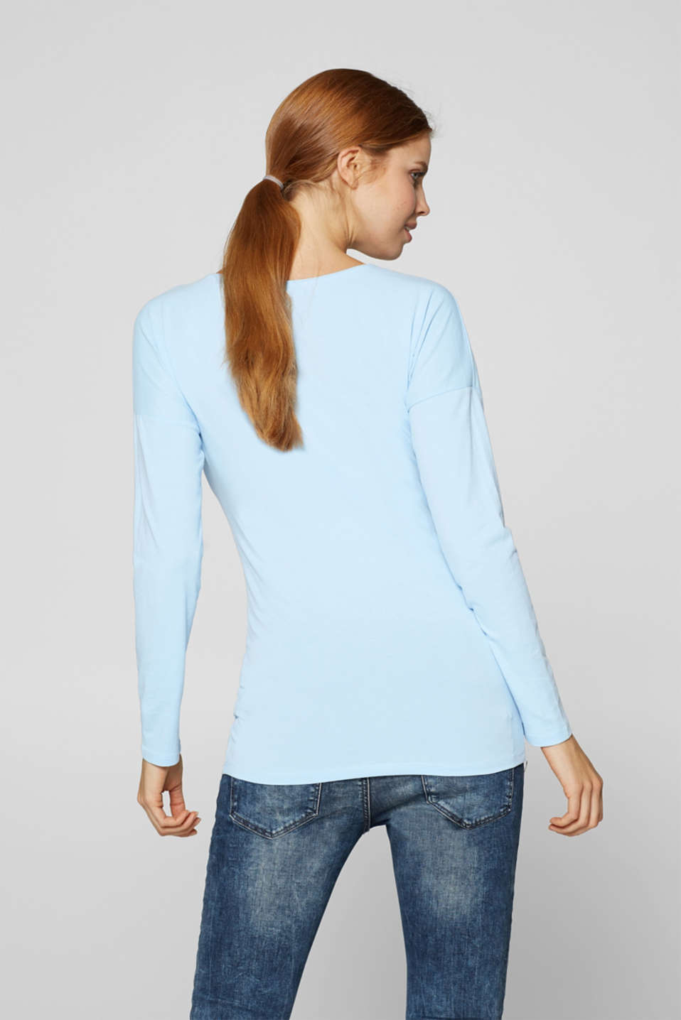 Stretch long sleeve top with a shiny print, LCLIGHT BLUE, detail image number 2