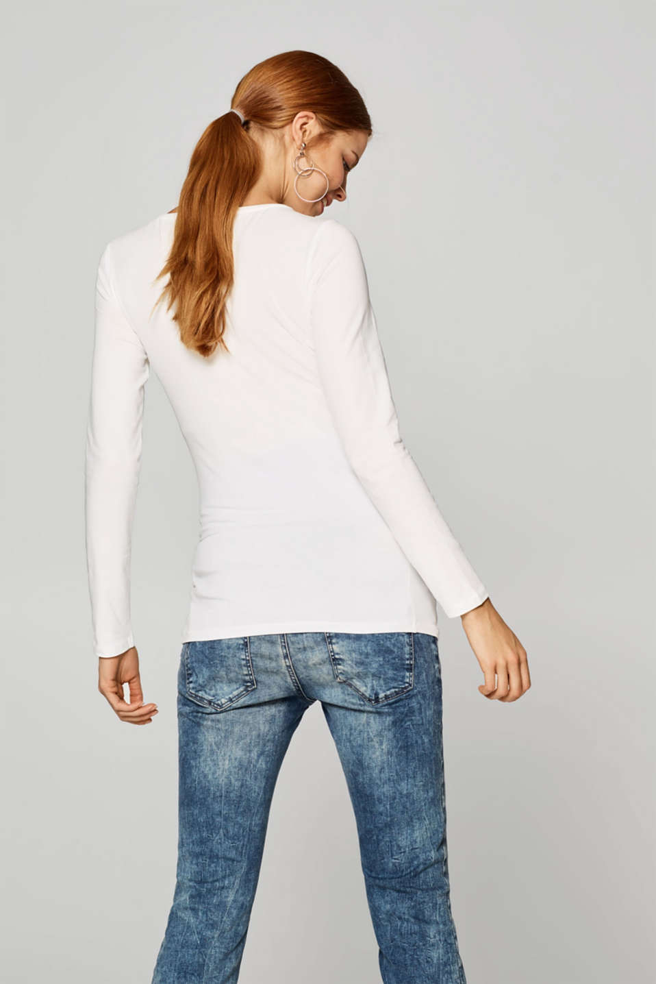 Stretch long sleeve top with a front print, LCOFF WHITE, detail image number 3