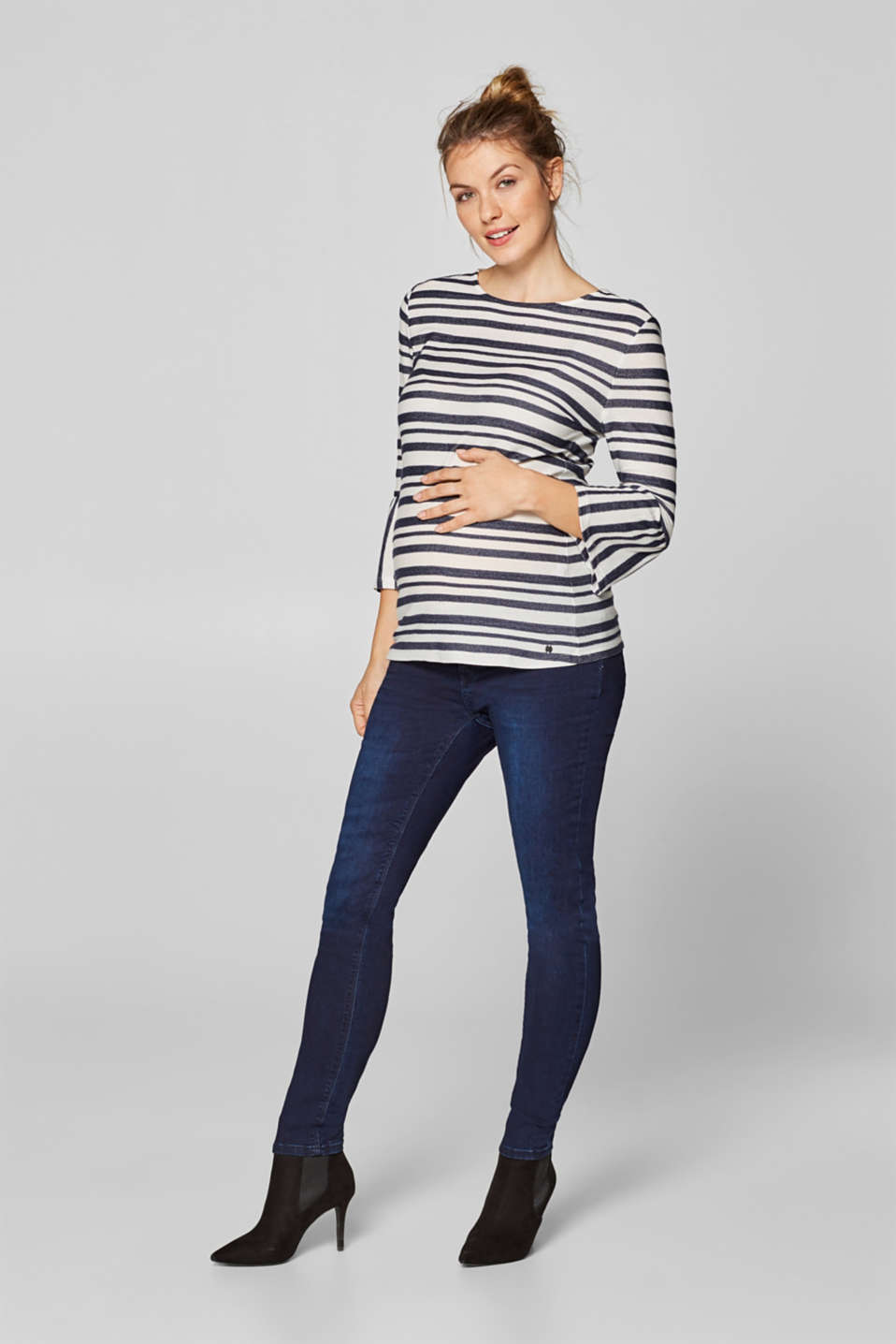 Textured top with trumpet sleeves, LCNIGHT BLUE, detail image number 1