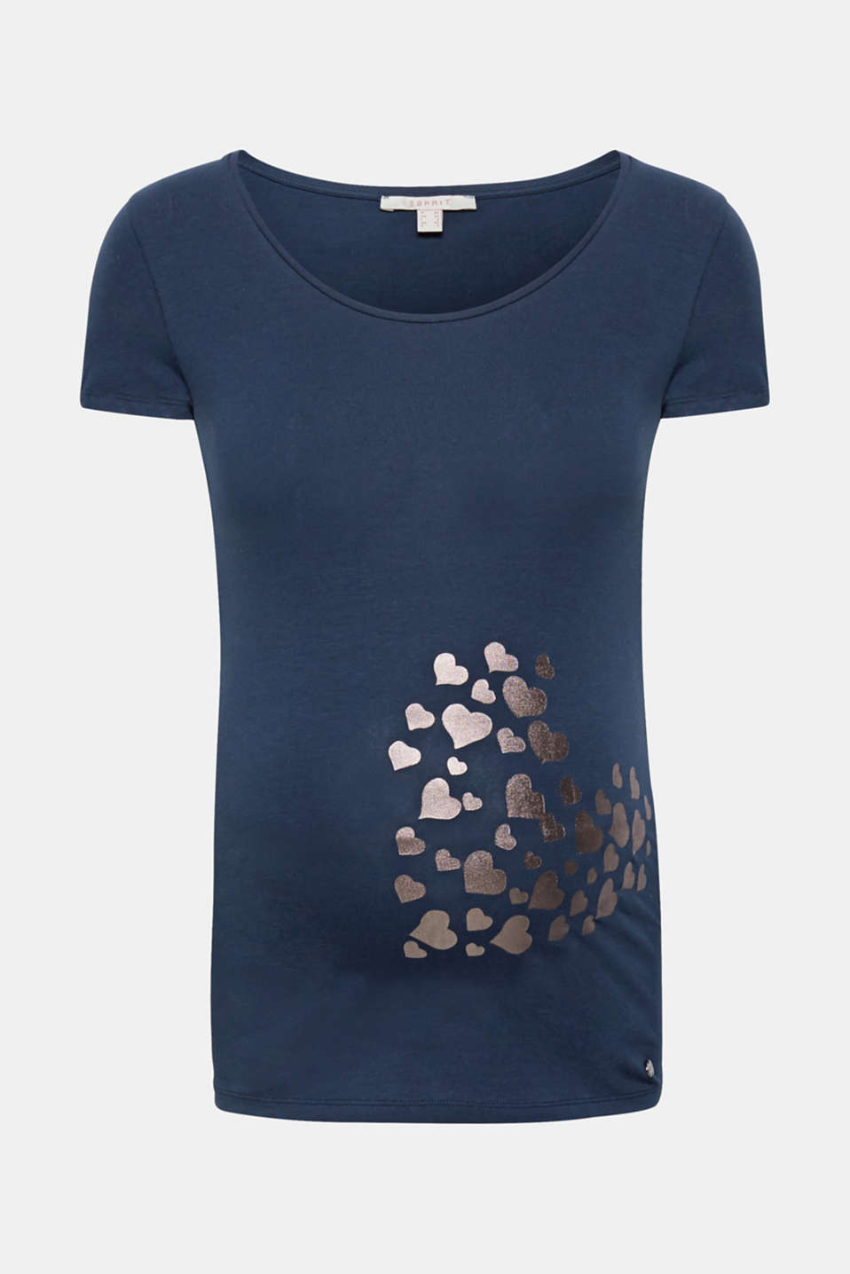 Pretty prints sweeten our day - heart-shaped here on the front of this comfy stretch T-shirt!