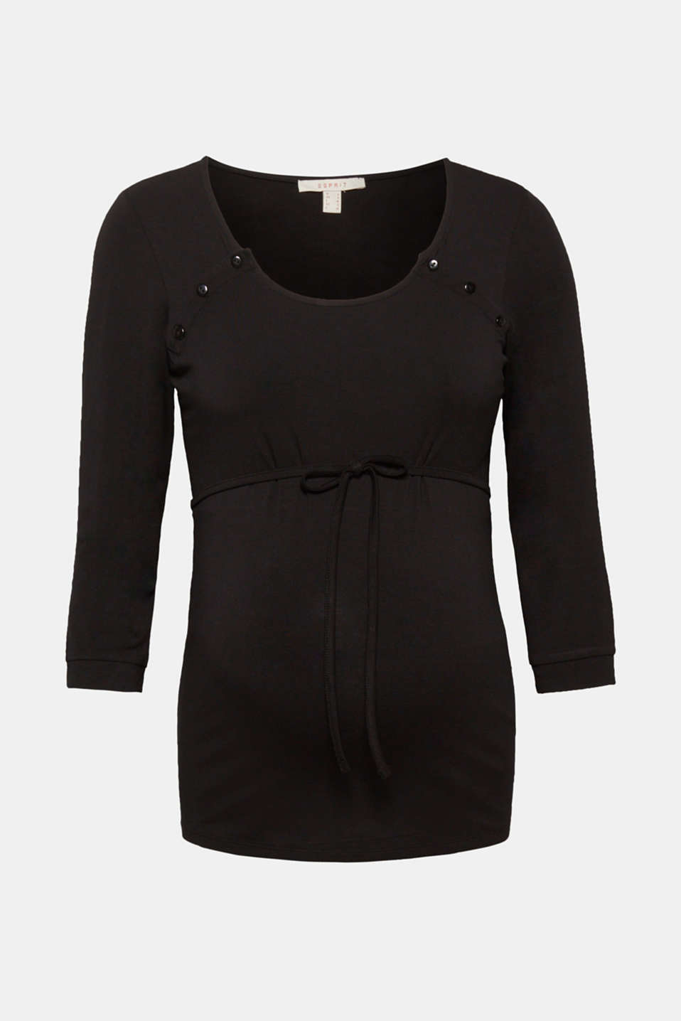 Stretch nursing top with button plackets, LCBLACK, detail image number 2