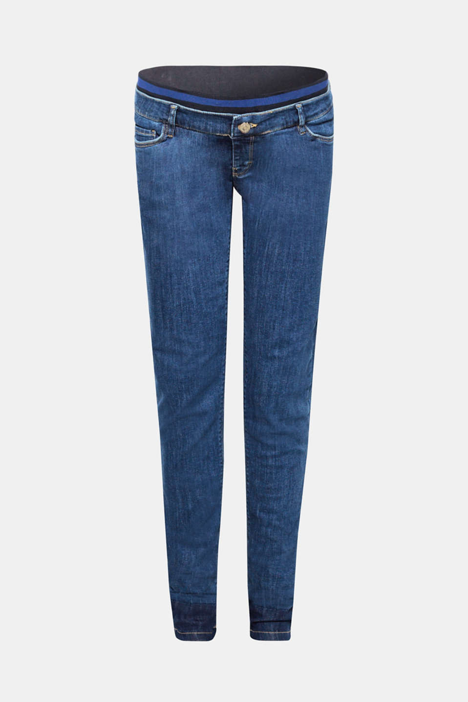 The sporty, striped under-bump waistband and the leg hems that look like they've been unpicked give these stretch jeans their trendy new look!