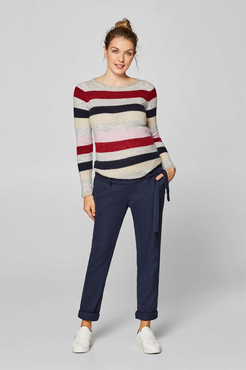 Esprit - Textured, stretchy trousers with under-bump waistband