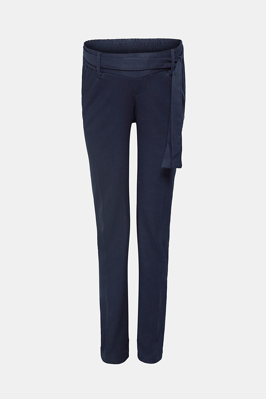 Textured, stretchy trousers with under-bump waistband