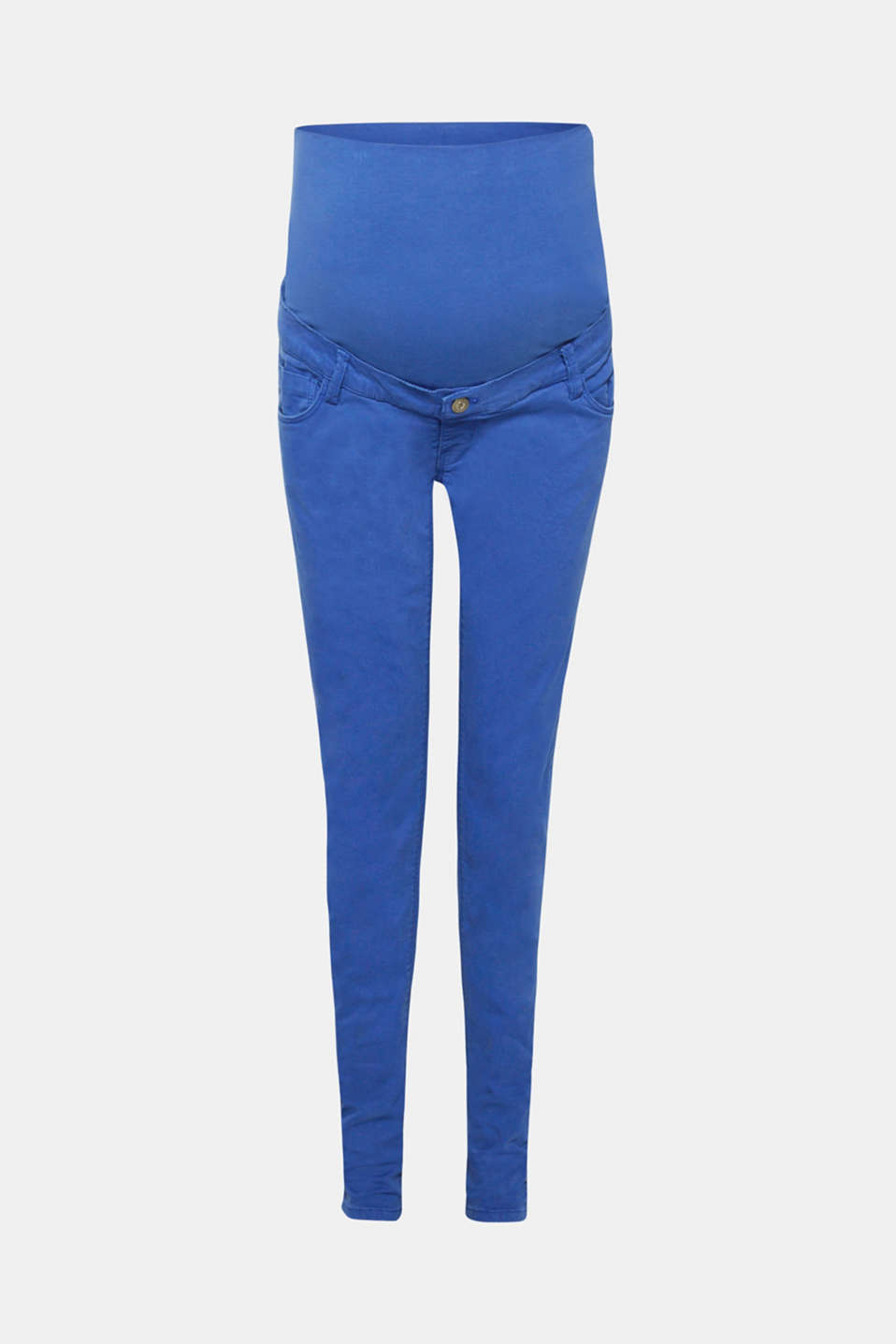 Denim goes for colour: with these stretch jeans in a trendy coloured style. The over-bump jersey waistband is super functional and super comfy!