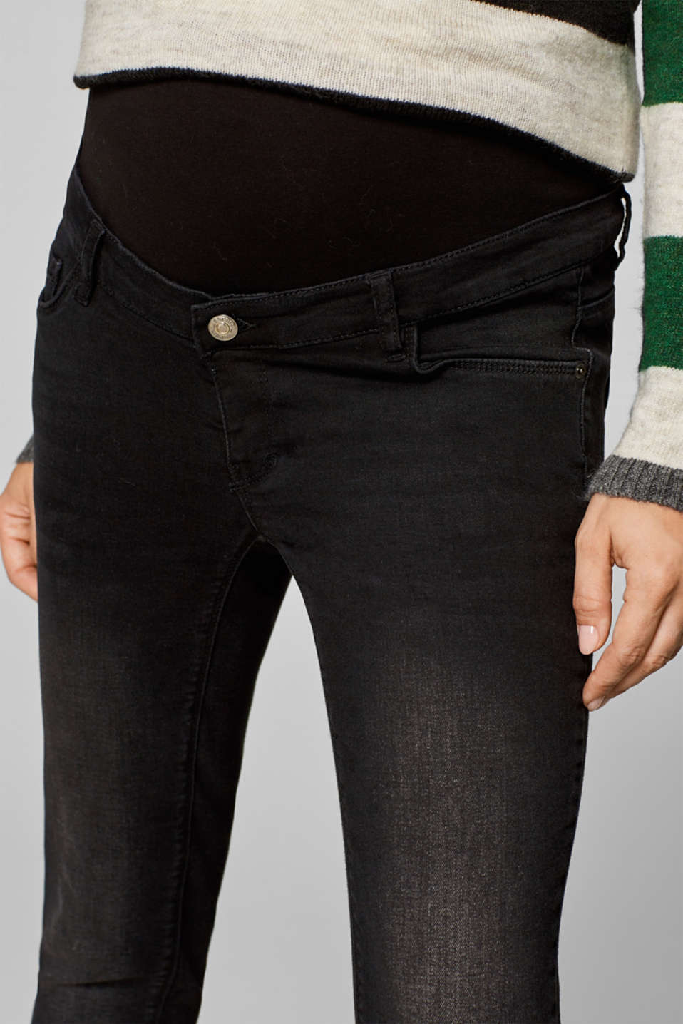 Cropped stretch jeans with an over-bump waistband, LCBLACK DARK WAS, detail image number 1