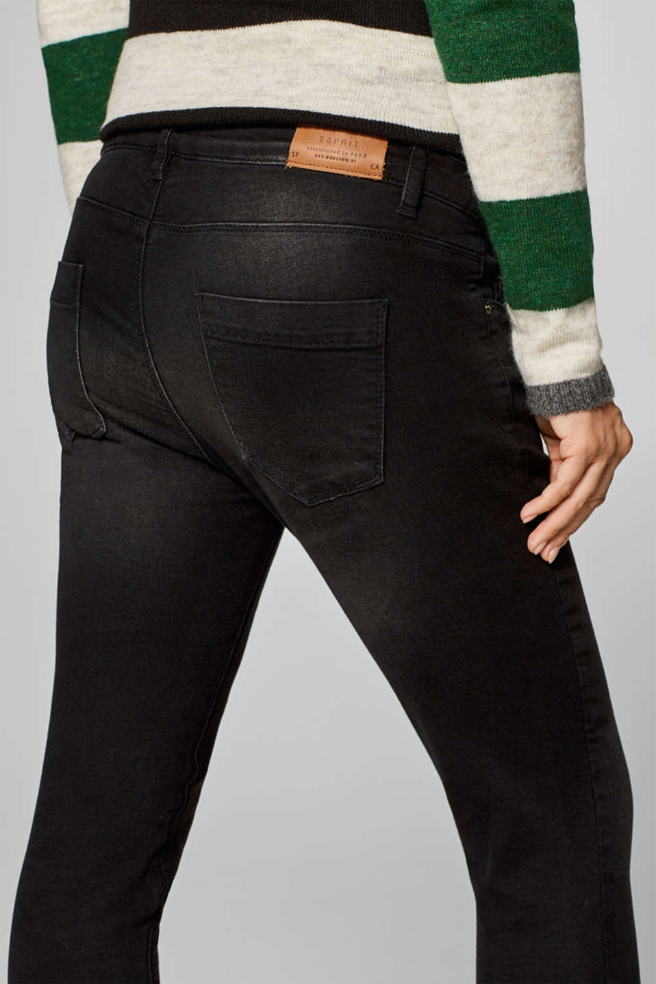 Cropped stretch jeans with an over-bump waistband, LCBLACK DARK WAS, detail image number 4