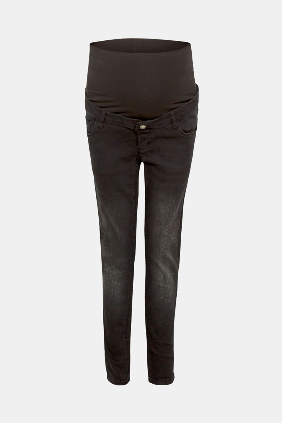 Cropped stretch jeans with an over-bump waistband, LCBLACK DARK WAS, detail image number 6