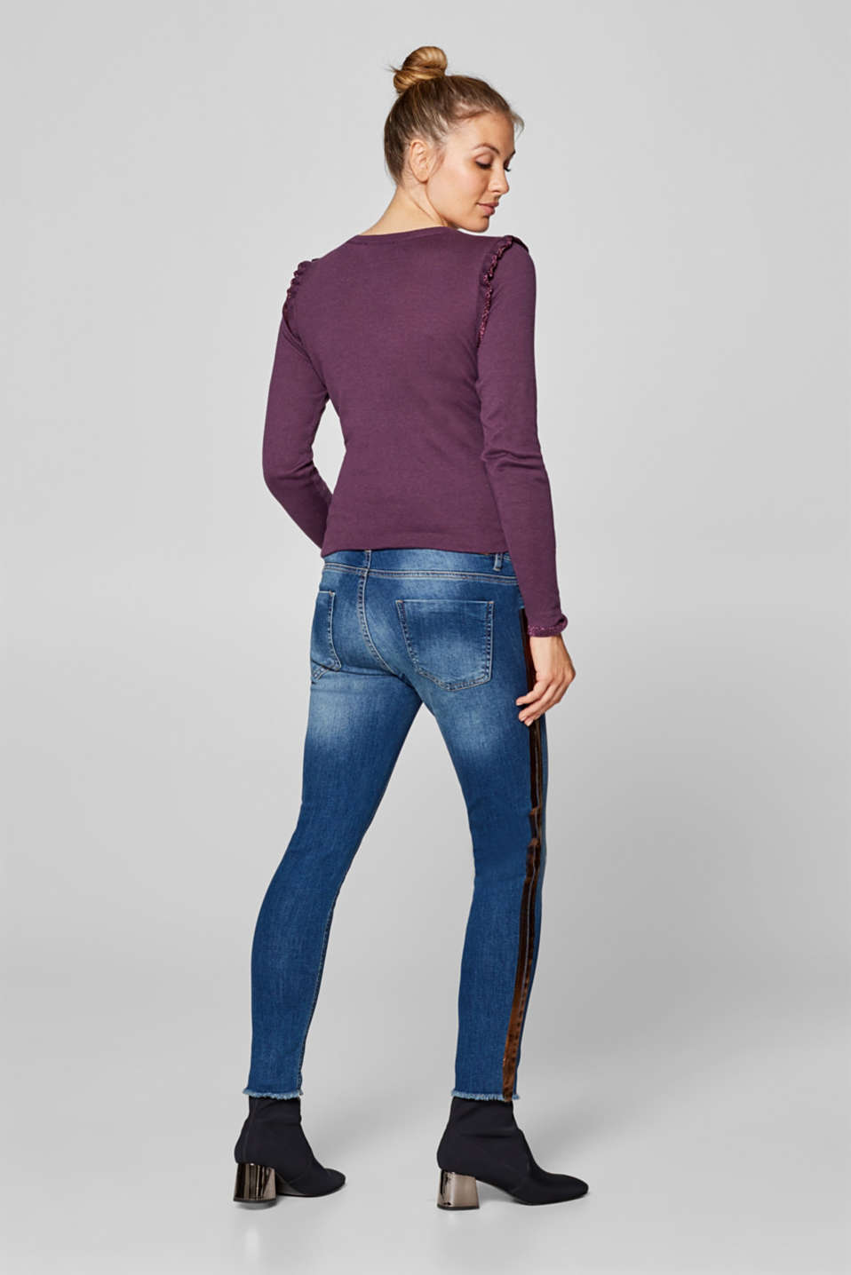 Cropped stretch jeans with an over-bump waistband, LCMEDIUM WASH, detail image number 2