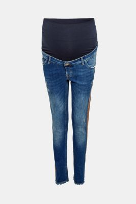 Cropped stretch jeans with an over-bump waistband, LCMEDIUM WASH, detail