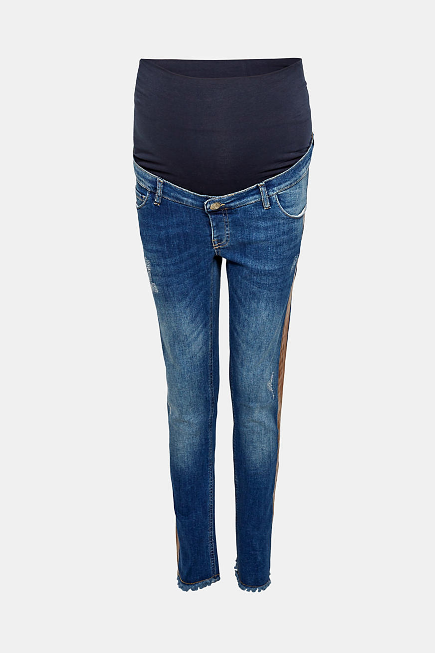 Cropped stretchjeans met band boven de buik
