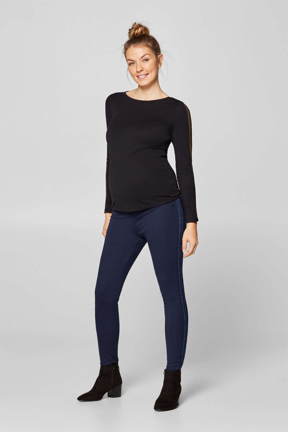 Stretch jersey trousers with an under-bump waistband, LCNIGHT BLUE, detail image number 1