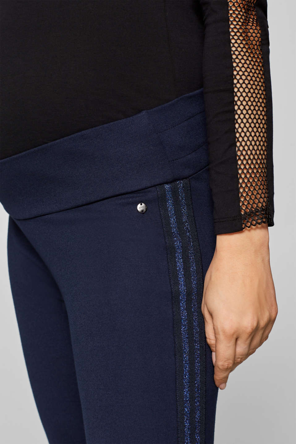 Stretch jersey trousers with an under-bump waistband, LCNIGHT BLUE, detail image number 2